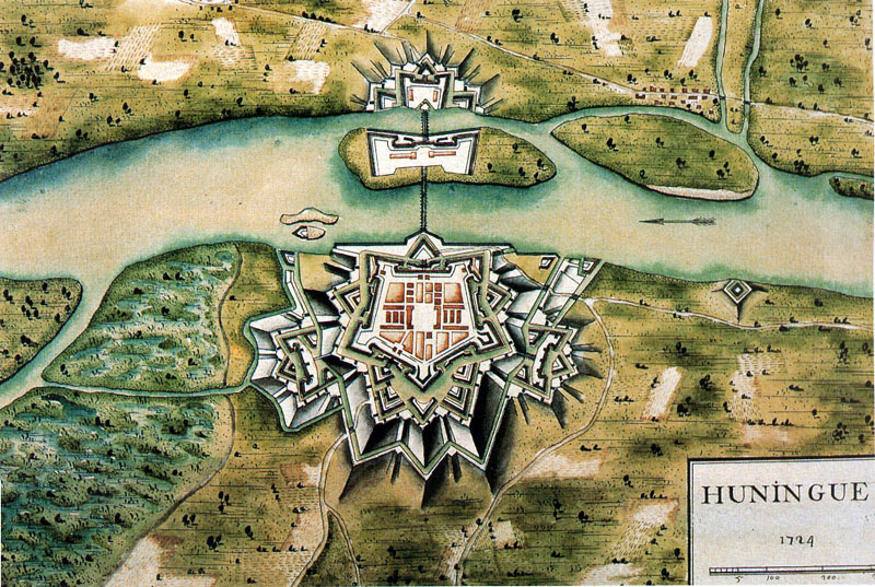 Huningue : les fortifications de Vauban. Plan de 1724.